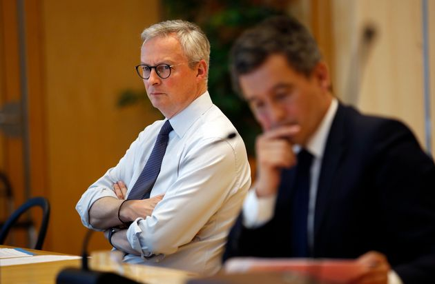 Bruno Le Maire et Gérald Darmanin au ministère de l'Économie à Paris, le...
