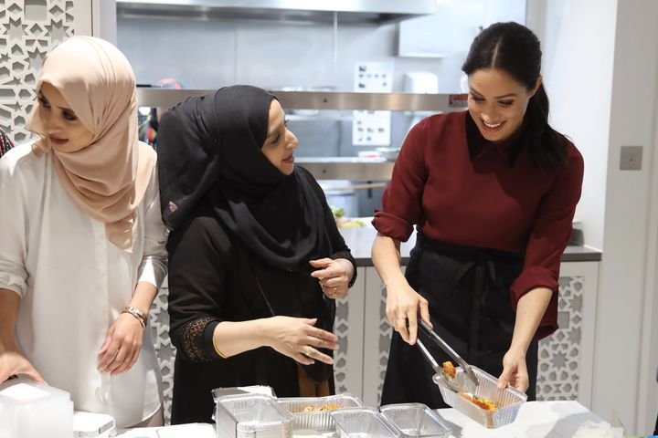 The Duchess of Sussex visits the Hubb Community Kitchen in London on November 21, 2018 to celebrate the success of their cook