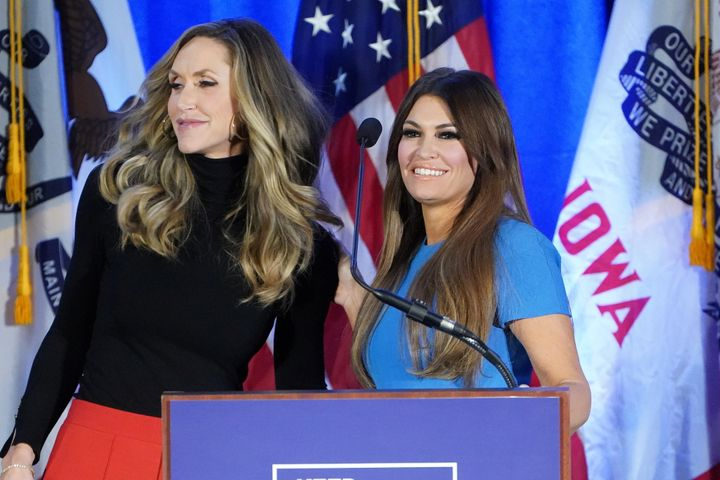 Lara Trump, left, and Kimberly Guilfoyle at a Feb. 3 news conference in Des Moines set up by the reelection campaign.