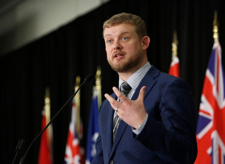 NDP MP Daniel Blaikie delivers remarks at the Canadian National Prayer Breakfast in Ottawa on May 2, 2019.