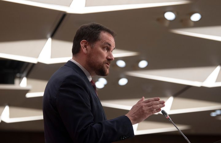 Conservative MP Dan Albas speaks during a news conference in Ottawa on Thursday.