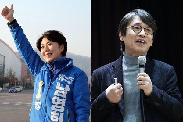남영희 후보 (왼쪽), 유시민