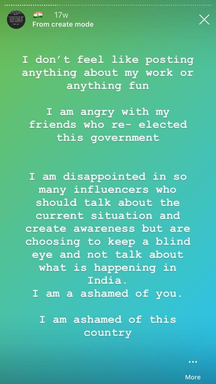 A post from Amber Qureshi's Instagram stories.