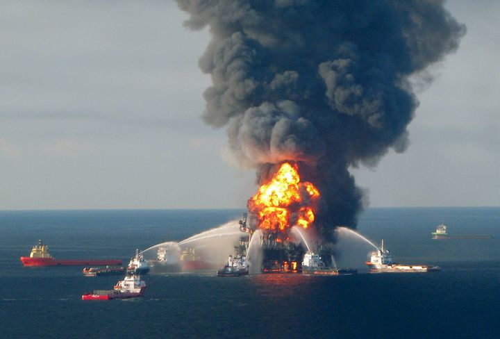 Fire boat response crews battle the blazing remnants of the Deepwater Horizon oil rig on April 21, 2010.