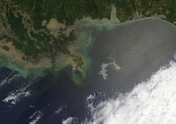 In this handout from NASA, an oil slick from the sunk Deepwater Horizon drilling platform is seen April 25, 2010, off the coast of Louisiana in the Gulf of Mexico.