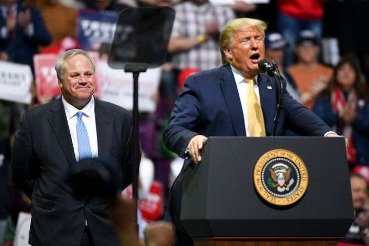 Secretary of the Interior David Bernhardt and President Donald Trump during a rally in Colorado on Feb. 20.