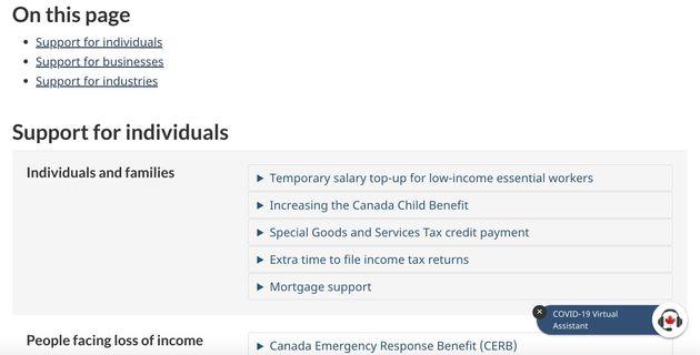 カナダ政府のサイト。支援策が1ページにまとまっている。