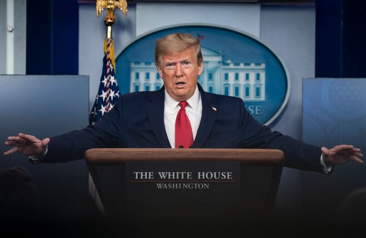 President Donald Trump speaks during a press briefing with members of the White House Coronavirus Task Force on April 18.
