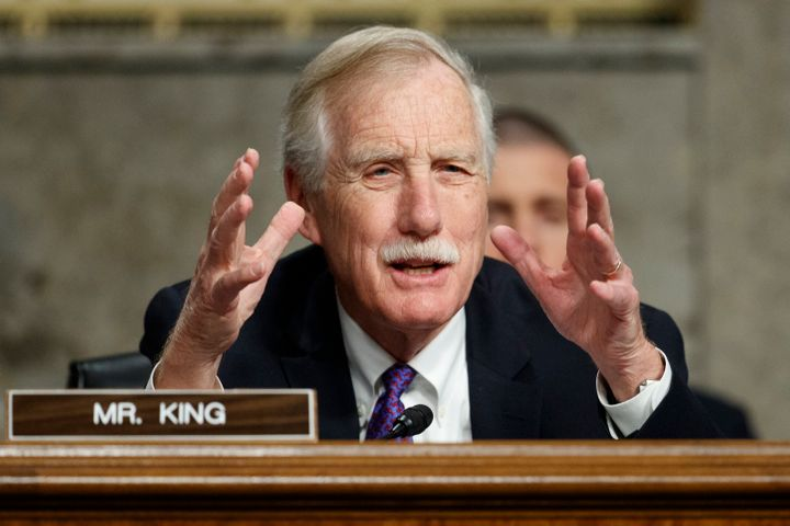 Senate Armed Services Committee member, Sen. Angus King, I-Maine, speaks during a Senate Armed Services Committee hearing on