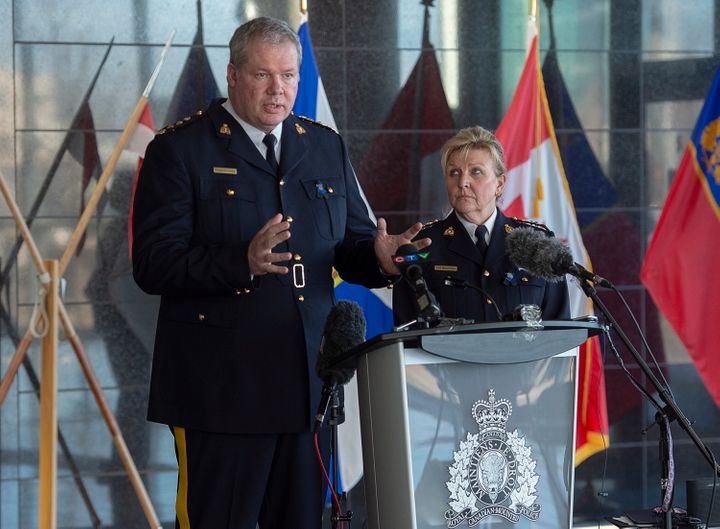 RCMP Chief Supt. Chris Leather, left, and N.S. RCMP Commanding Officer Lee Bergerman field questions at a news conference at RCMP headquarters in Dartmouth, N.S. on April 19, 2020.