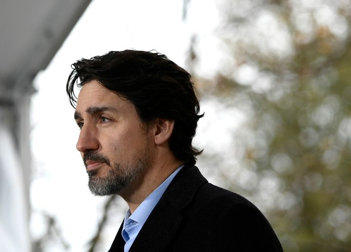 Prime Minister Justin Trudeau speaks during his daily press conference on COVID-19, in front of his residence at Rideau Cottage in Ottawa, on April 19, 2020.