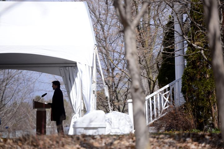 Trudeau addressing Canadians on the COVID-19 pandemic from Rideau Cottage in Ottawa on Apr. 16, 2020.