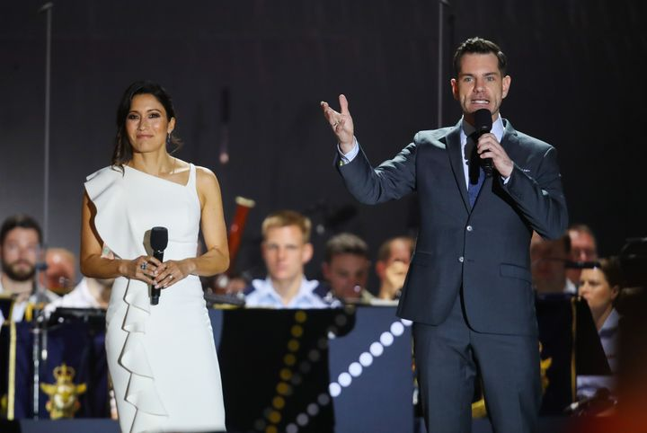 Kumi Taguchi and Nate Byrne Hosting during the Invictus Games Sydney 2018 Opening Ceremony at Sydney Opera House on October 20, 2018 in Sydney, Australia.