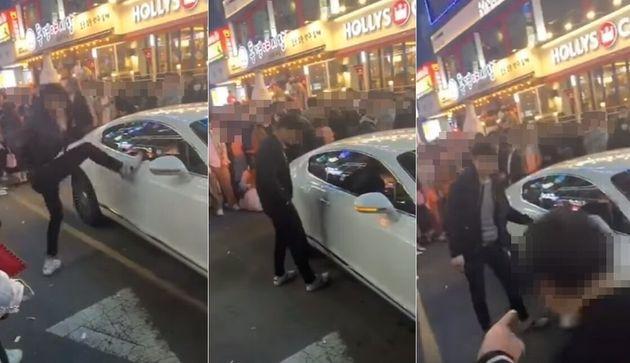 술에 취한 남성이 고가 외제차인 벤틀리에 발길질을 하는 영상이 퍼지고