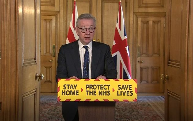 U.K. Chancellor Michael Gove speaks during a media briefing in Downing Street,