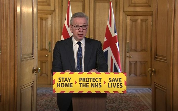 U.K. Chancellor Michael Gove speaks during a media briefing in Downing Street, London.