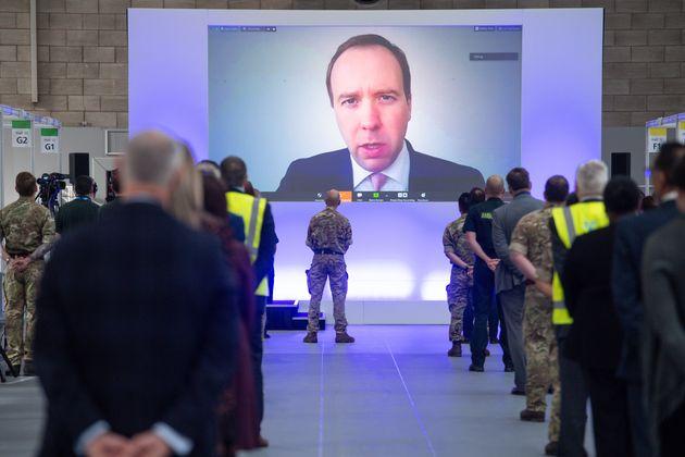 Health secretary Matt Hancock as he speaks via video-link during the official opening of the NHS Nightingale...