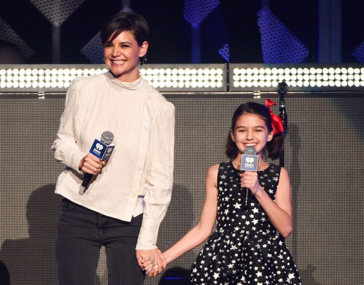 Katie Holmes with her daughter Suri Cruise at Z100's iHeartRadio Jingle Ball in 2017.