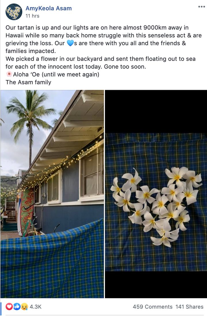 Amy Asam, originally from Truro N.S., now lives in Hawaii. She posted in a Nova Scotia Facebook group photos of her home decorated with tartan in memory of those killed in her home province.