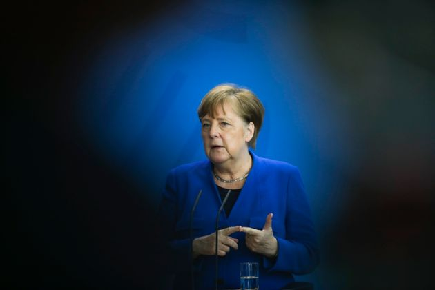 German Chancellor Angela Merkel brief the media about measures to avoid further spread of the coronavirus...