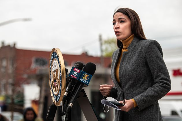 Rep. Alexandria Ocasio Cortez speaks at a news conference in Corona, Queens. Her congressional district...