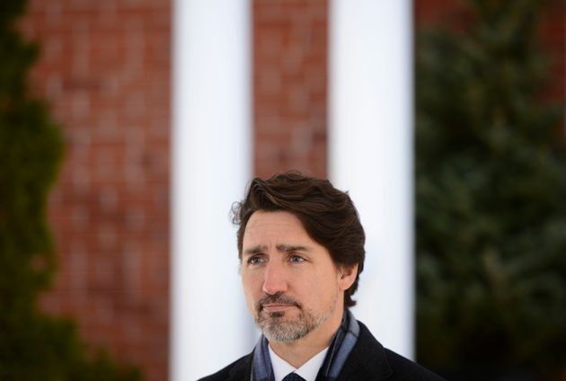 Prime Minister Justin Trudeau speaks from Rideau Cottage in Ottawa on April 20,