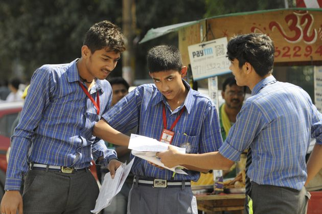Students leave from exam centre after appearing for the Class 10th SST CBSE examination, on March 18,...