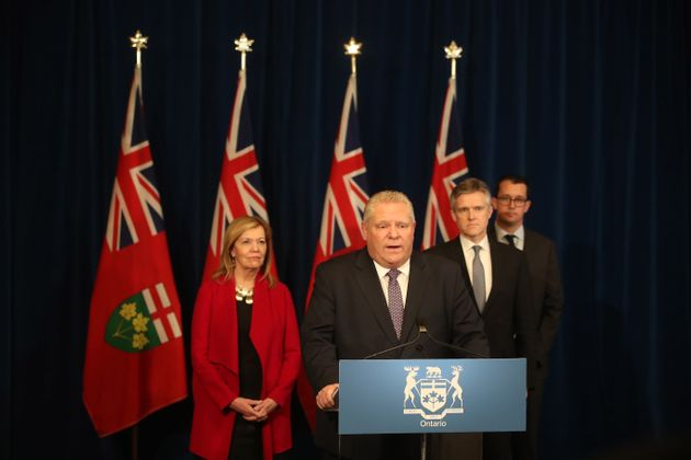 Premier Doug Ford holds a press conference about the COVID-19 pandemic in Toronto on March 19,