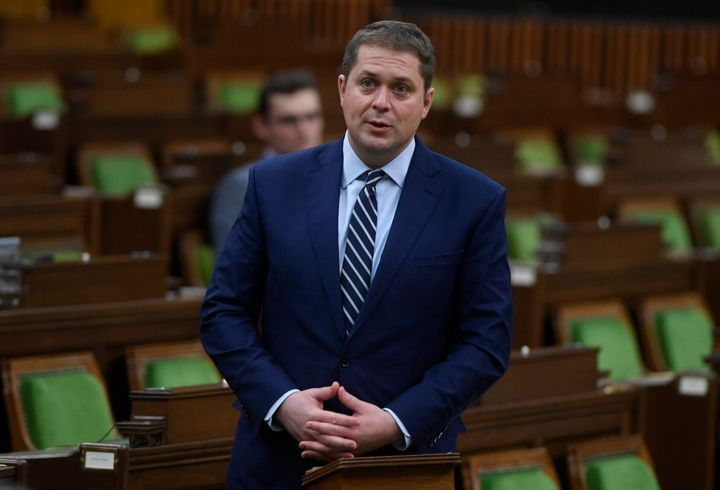 Andrew Scheer rises during question period in the House of Commons on April 20, 2020 in Ottawa.