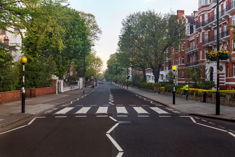Abbey Road zebra crossing on April 16, 2020, in London.