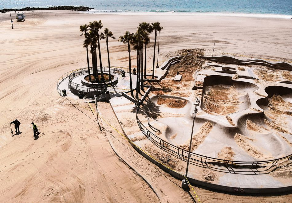 Venice Skate Park, partially filled with sand to deter people from skating there, on April 17, 2020.