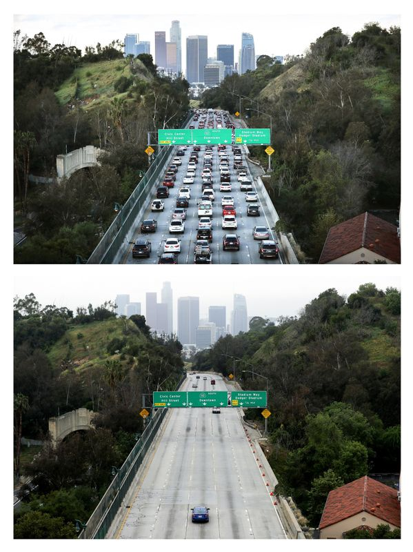 Contrasting images of morning rush hour on the 110 freeway a week before stay-at-home orders were issued in Los Angeles, and a photo of the freeway after the orders went into effect.