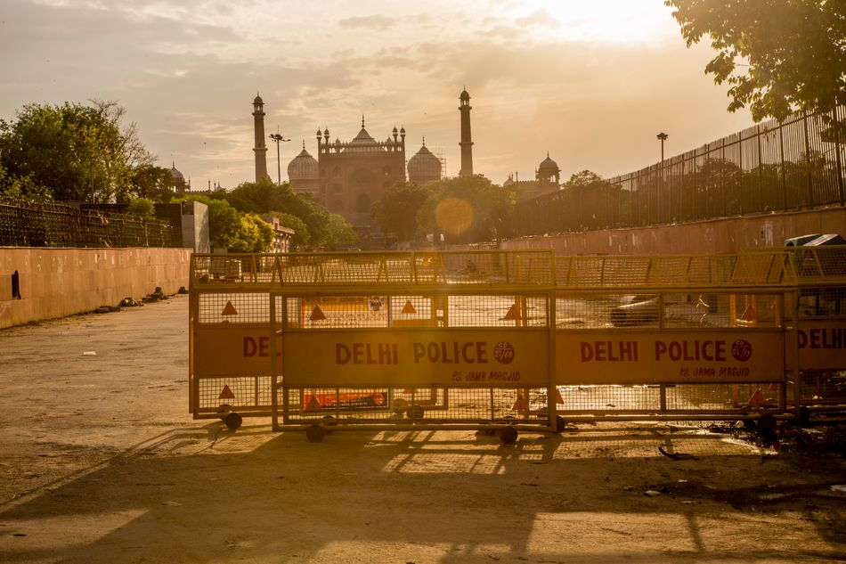 A closed Jama Masjid (Grand Mosque) as India remains under lockdown on April 20, 2020, in New Delhi.