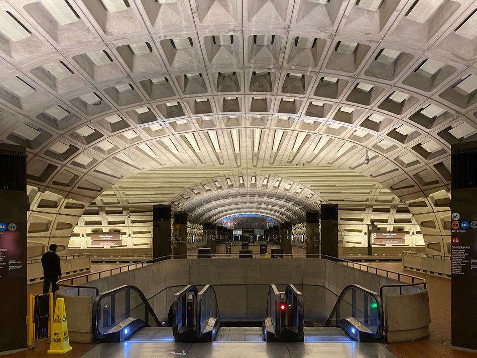 The empty Metro Center station on April 15, 2020, in Washington, D.C.