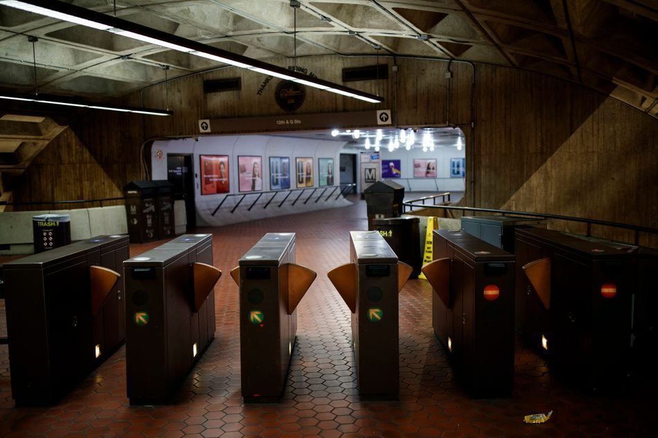 A March 31, 2020 photo shows a vacant metro station during rush hour in Washington D.C.