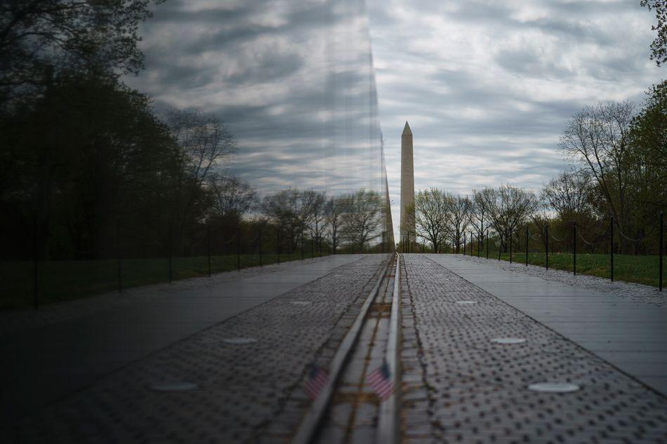 An empty Vietnam Veterans Memorial on April 14, 2020, in Washington, D.C.