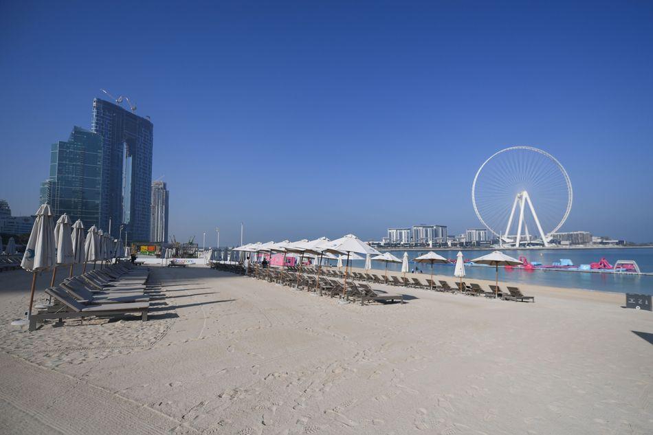 Empty sunbeds at Jumeirah Beach Residence in Dubai on March 12, 2020.