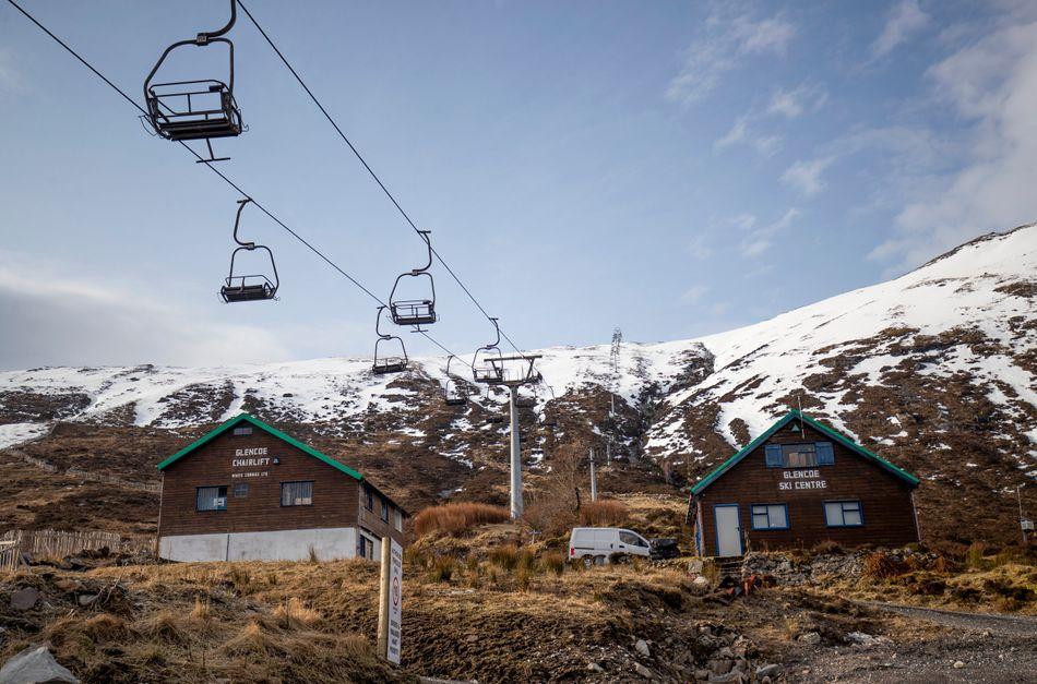 Empty chairlifts at the Glencoe Ski Centre in Ballachulish, Scotland.