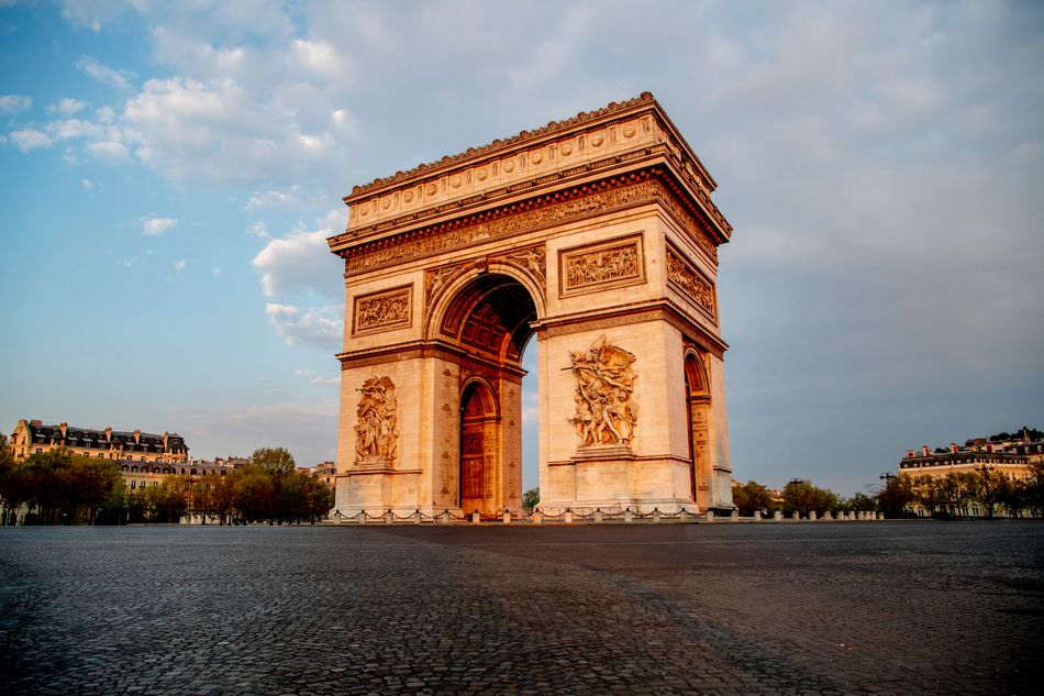 The Arc de Triomphe is almost deserted during lockdown on April 12, 2020.