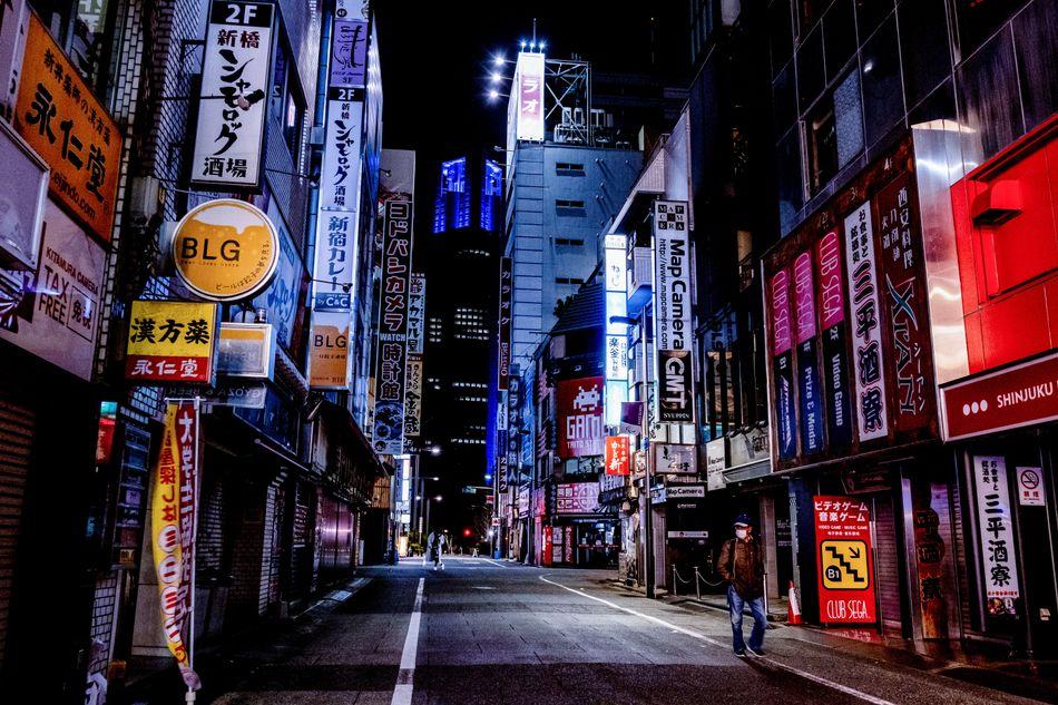 An empty street with no lights on in Tokyo's Shinjuku neighborhood on April 19.