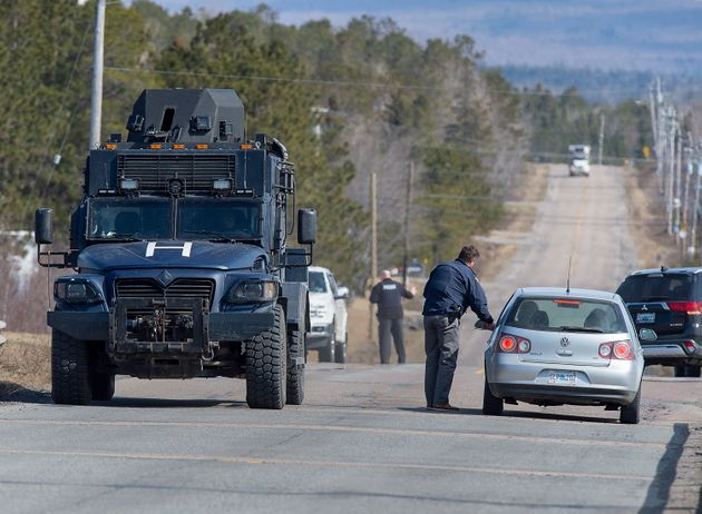 Police block the highway in Debert, N.S. on April 19, 2020 after the shooting spree