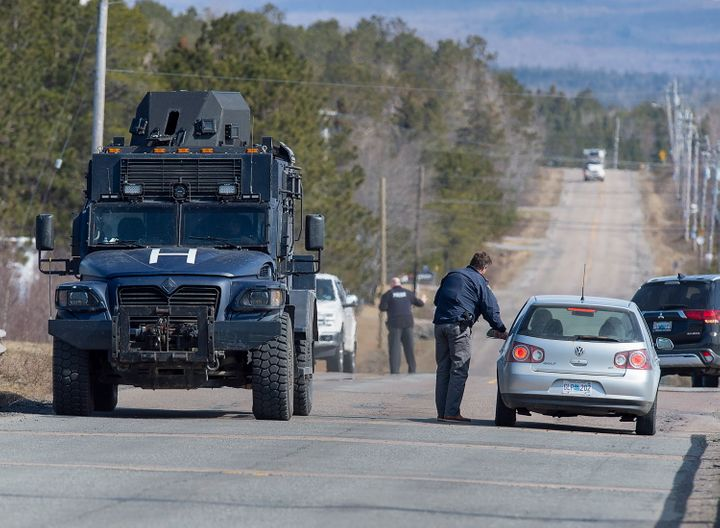 Police block the highway in Debert, N.S. on April 19, 2020 after the shooting spree ended.