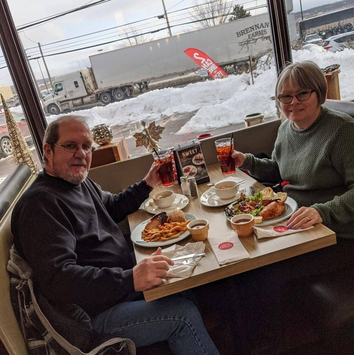 Frank Gulenchyn ​and Dawn Madsen are pictured here having dinner at Swiss Chalet.