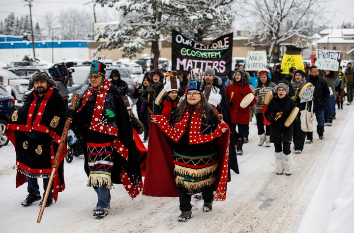 Wet'suwet'en hereditary chiefs from left, Rob Alfred, John Ridsdale, centre and Antoinette Austin, who oppose the Costal GasLink pipeline take part in a rally in Smithers B.C. on Jan. 10, 2020.