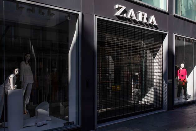Zara clothes shopping closed after the state of alarm imposed by the spanish government and measure of...