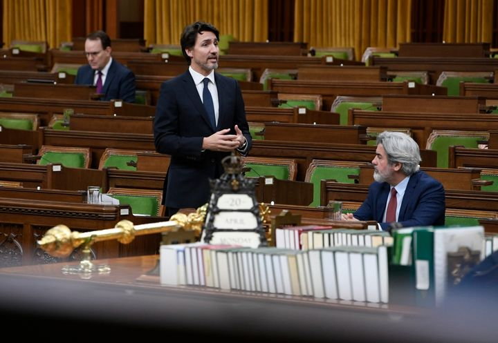 Prime Minister Justin Trudeau responds to a question in the House of Commons on April 20, 2020.