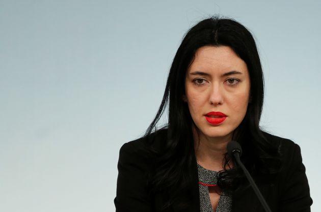 Italian Education Minister Lucia Azzolina speaks as Italian Prime Minister Giuseppe Conte announces a...