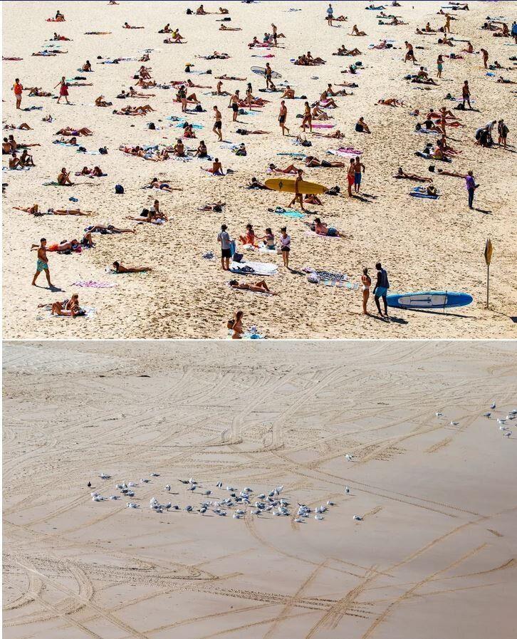 Η παραλία Μπόντι, στο Σίδνεϊ της Αυστραλίας. Επάνω γεμάτη κόσμο, στις 20 Μαρτίου και κάτω κλειστή στο κοινό, στις 22 Μαρτίου, 2020.