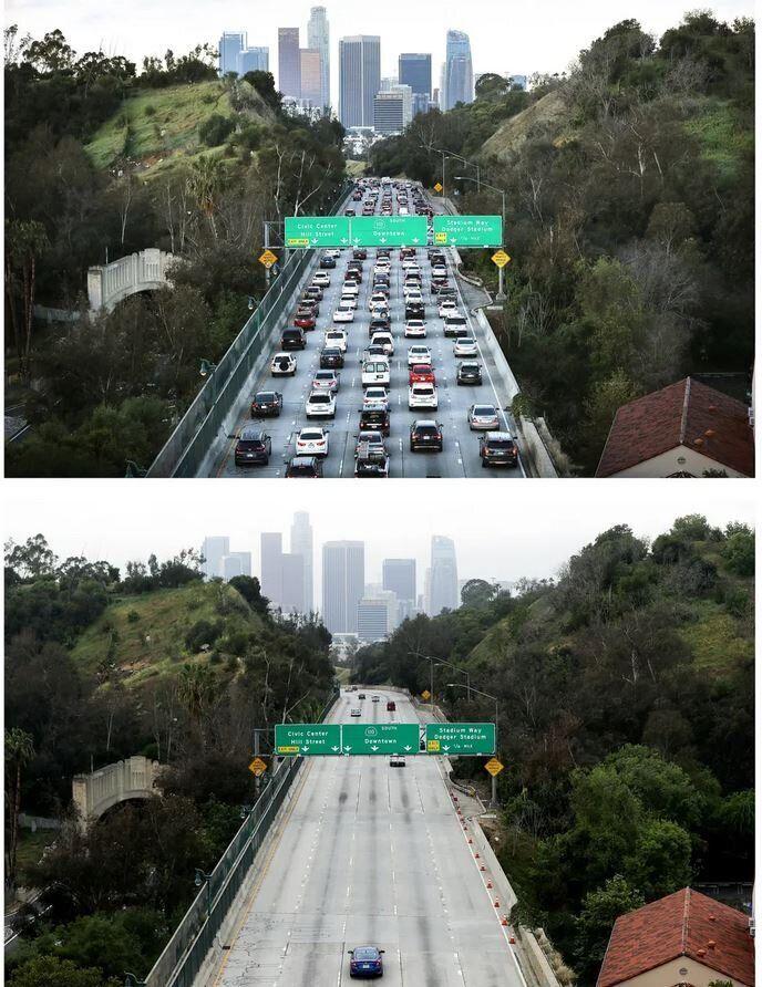Ο αυτοκινητόδρομος 110, στο Λος Άντζελες, σε ώρα αιχμής κατά τις πρωινές ώρες, πριν και μετά την απαγόρευση κυκλοφορίας, λόγω κορονοϊού.