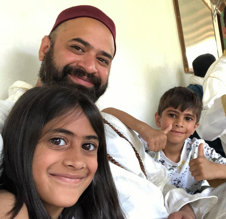 Ali Amla with his daughter Rahimah and son Zayn in Orgiva, Spain.